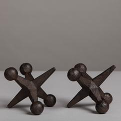 A Small Pair of Sculptural Metal Black Jack Paper Weights
