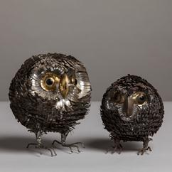 A Small Spiked Metal Owl Sculpture 1970s