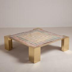 A Superb Italian Brass and Composite Marble Coffee Table