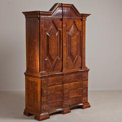 A Superb Swedish Baroque Elder Root Cabinet circa 1720