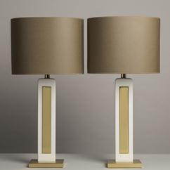 A Tall Pair of  Brass Lamps 1980s