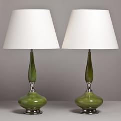 A Tall Pair of Green Glazed Ceramic Table Lamps USA 1960s