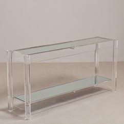 A Two Tiered Lucite Framed Mirrored Shelved Console Table 1970s