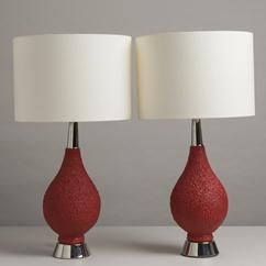 A Vibrant Pair of Textured Ceramic Table Lamps 1970s