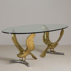An Alain Chervet Brass and Cast Bronze Eagle Based Table 1980s