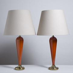 An Elegant Pair of Murano Orange Glass Table Lamps 1960s
