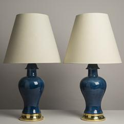 An Impressively Large Pair of Blue Ceramic Table Lamps 1950s