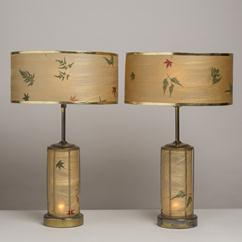 An Unusual Pair of Acrylic and Brass Table Lamps 1960s