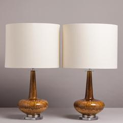 An Unusual Pair of Dripglaze Ceramic Table Lamps 1960/70s