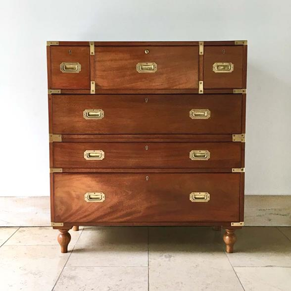 19th Century Teak Secretaire Campaign Chest of Drawers