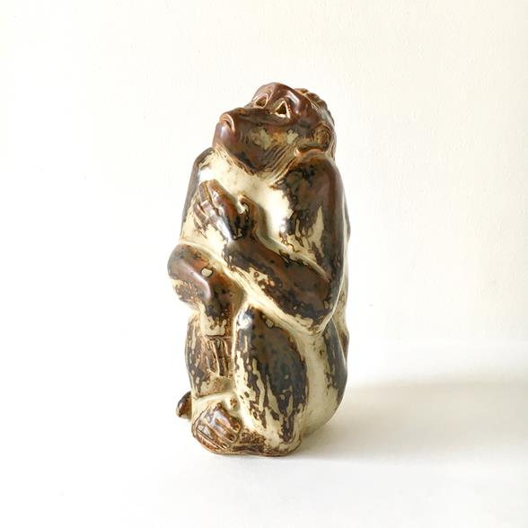 A 1950s Royal Copenhagen Ceramic Monkey by Knud Kyhn