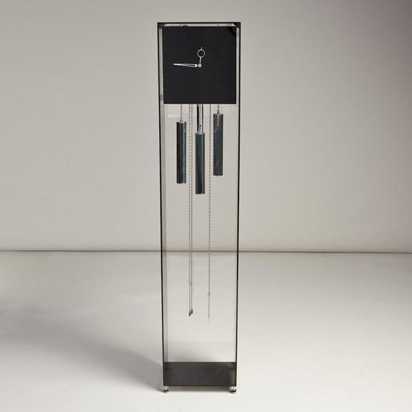 A 1970s Lucite and Chrome Grandfather Clock