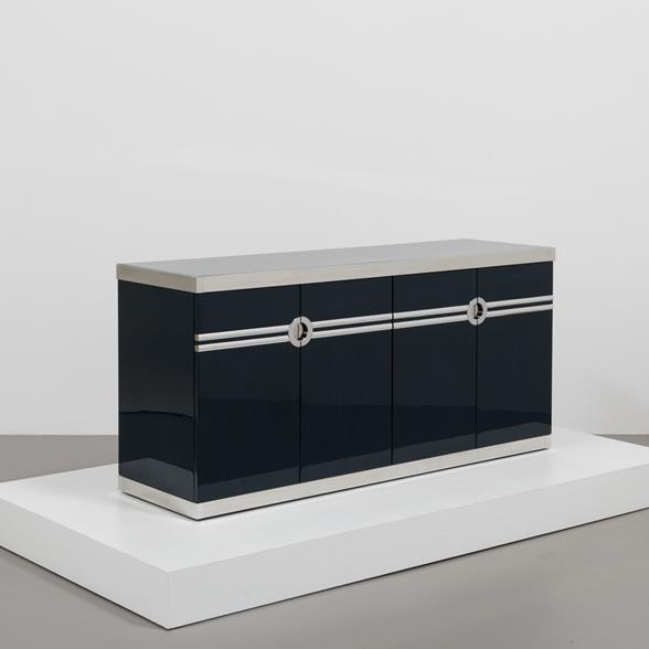 A Basalt Lacquered Four Door Cabinet by Pierre Cardin 1980s
