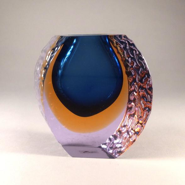 A Blue Mandruzzato designed Murano Glass Vase
