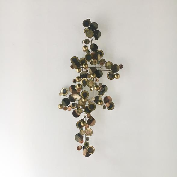 A Brass Raindrops Metal Wall Sculpture By Curtis Jere