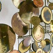 A Brass Raindrops Metal Wall Sculpture By Curtis Jere Alternate image