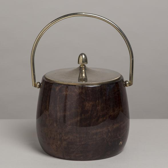 A Brown Lacquered Goatskin Aldo Tura Ice Bucket 1960s