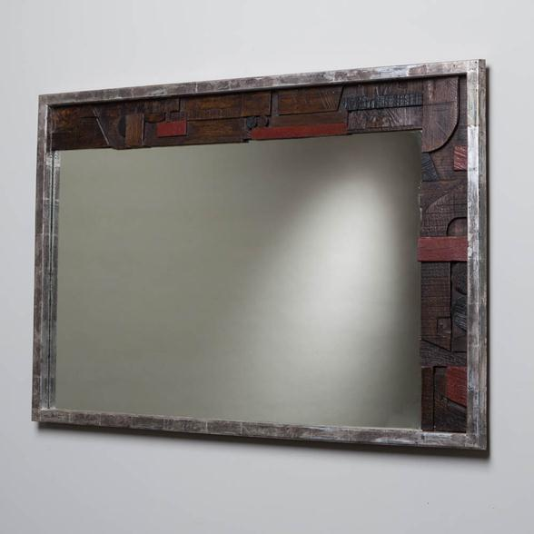 A Brutal Part Silver Leafed Lane Designed Mirror USA 1960s