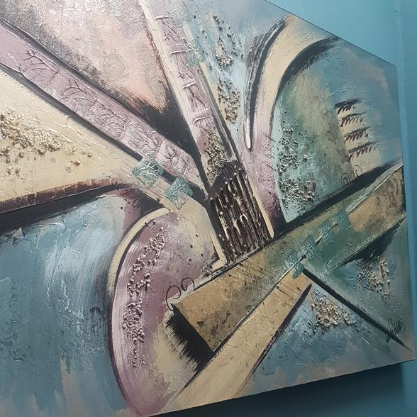 A Brutalist Inspired Oil on Canvas Painting by Lee Reynolds signed