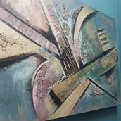 A Brutalist Inspired Oil on Canvas Painting by Lee Reynolds signed main image