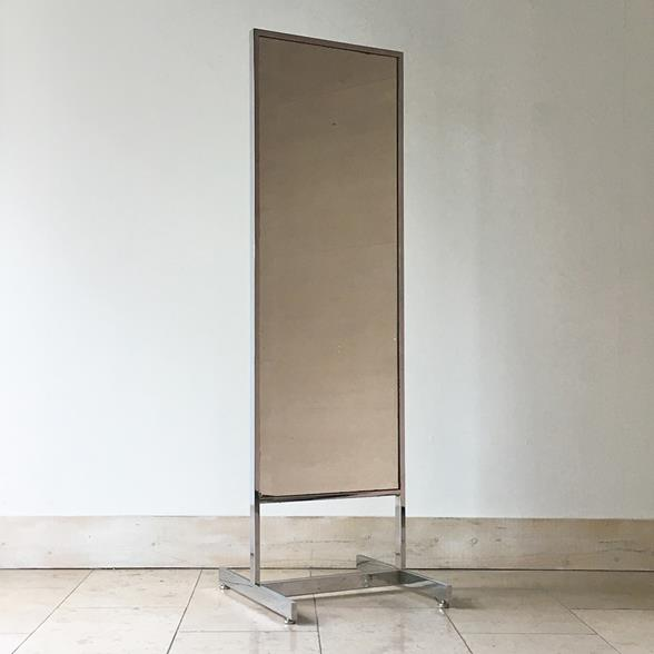 A Chrome Framed Floor Standing Mirror 1970s