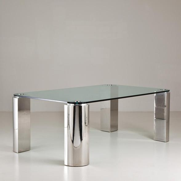 A Chrome and Glass Dining Table 1970s