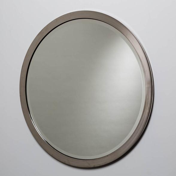 A Circular Chrome Framed Karl Springer Style Mirror 1980s