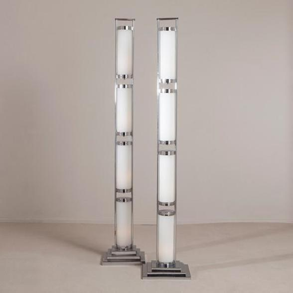 A Contemporary Pair of Glass and Chrome Deco Style Floor Lamps