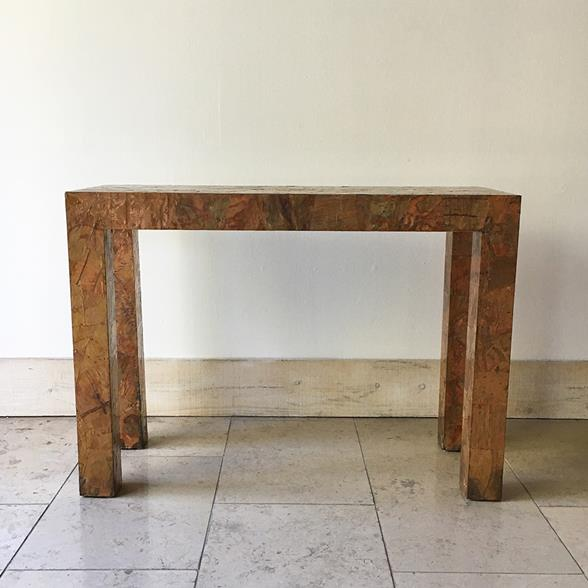 A Copper and Brass Patchwork Console Table 1970s