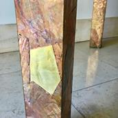 A Copper and Brass Patchwork Console Table 1970s Alternate image