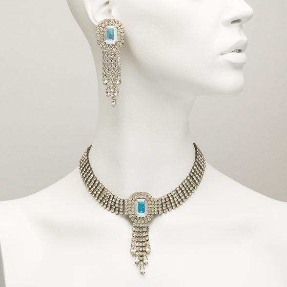 A Czech Glass Choker Necklace and Large Earrings