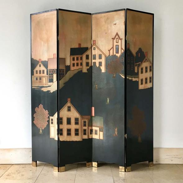 A Decorative Four Panel Screen Attributed to Maitland Smith 1970s