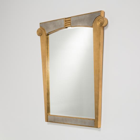 A Donghia Silver and Goldleafed Decorated Mirror USA 1980s