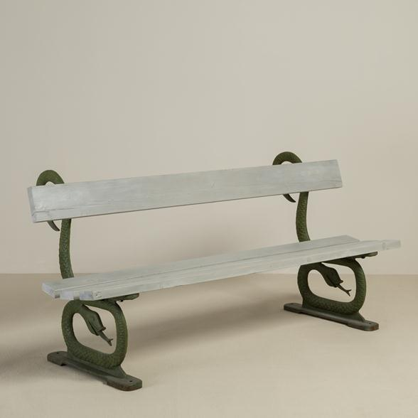 A English 19th Century Patinated Cast Iron and Wooden Bench