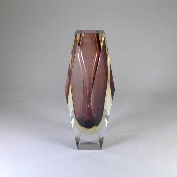 A Faceted Murano Sommerso Glass Vase