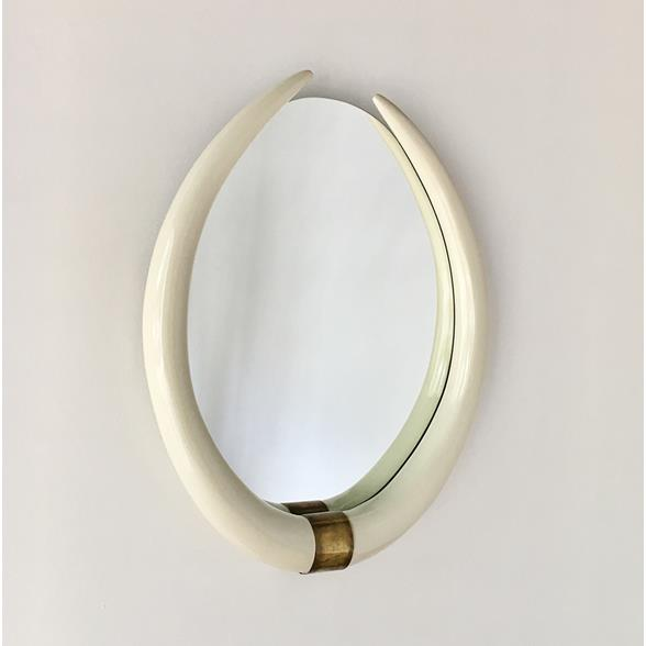 A Faux Tusk Ivory Lacquered Mirror with Brass Mount 1970s