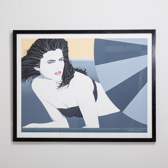 A Framed Art Deco Style Limited Edition Print of a Woman 1980s