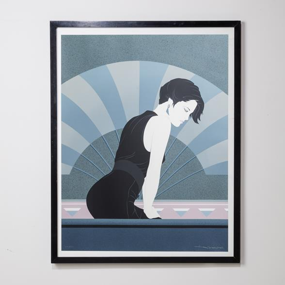 A Framed Art Deco Style Limited Edition Print Of Woman 1980s