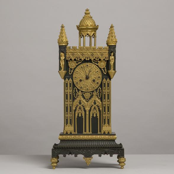 A French 19th Century Bronze and Ormolu Gothic Cathedral Clock