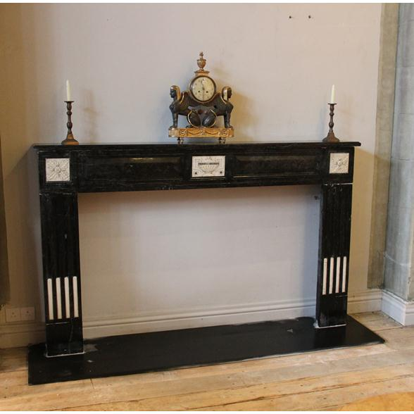 A French Napoleonic Black and White Marble Fireplace 1810