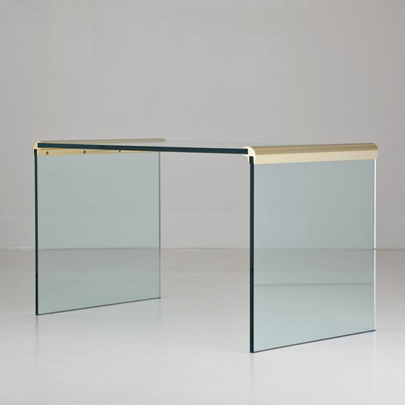 A Glass and Brass Waterfall Desk Designed by Pace 1970s