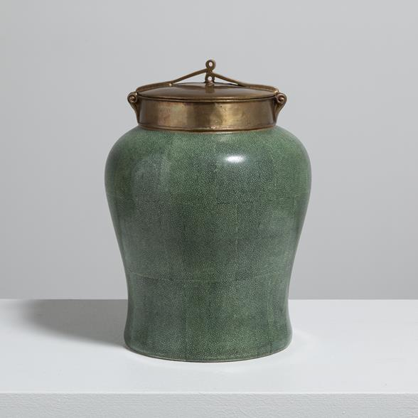 A Green Ceramic and Bronze Lidded Urn 1950s