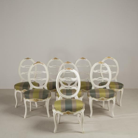 A Harlequin Set of Eight Swedish Dining Chairs circa 1790