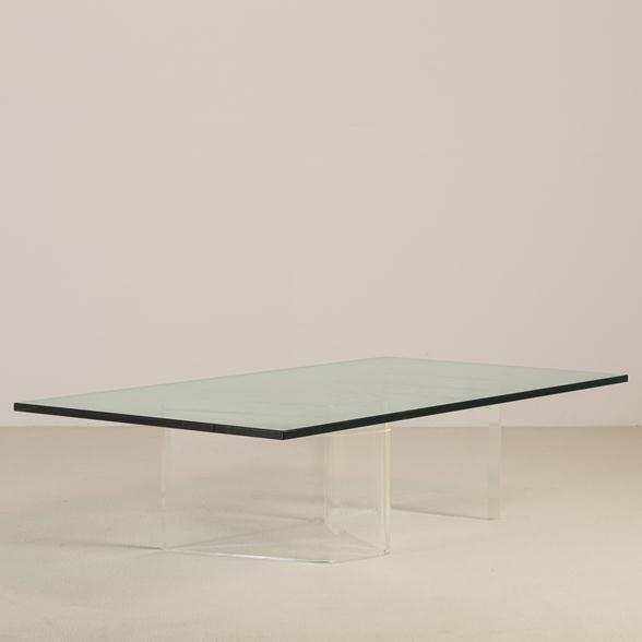A Heavy S Shaped Lucite Based Coffee Table 1970s