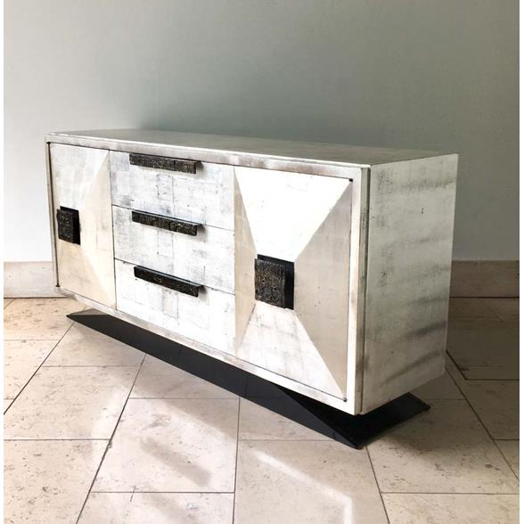 A James Mont style Silverleafed Cabinet USA 1950s