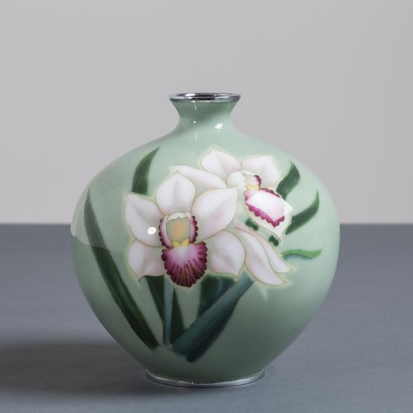 A Japanese Cloisonné Enamel Vase attributed to Ando circa 1950