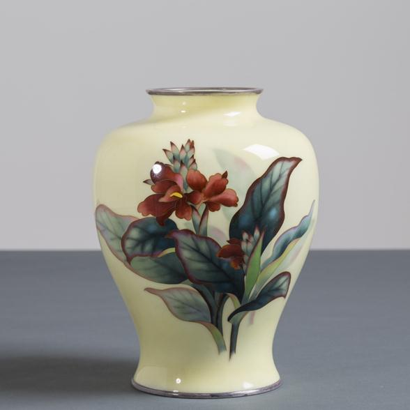 A Japanese Cloisonne Yellow Enamel Vase by Ando circa 1950