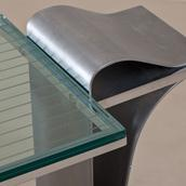 A Jay Spectre Steel Console Table with Glass Top 1980s Alternate image