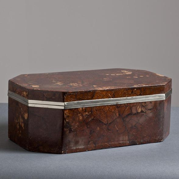 A Karl Springer Coconut Veneered Box with Nickel Plated Mounts