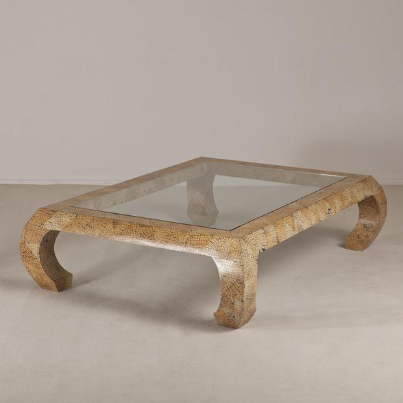 A Karl Springer attributed Coconut Veneered Coffee Table 1970/80s